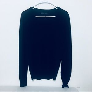 Zara Man Basic Black V-Neck Pullover Sweater